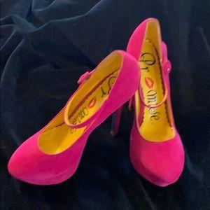 Promise hot pink platform heels